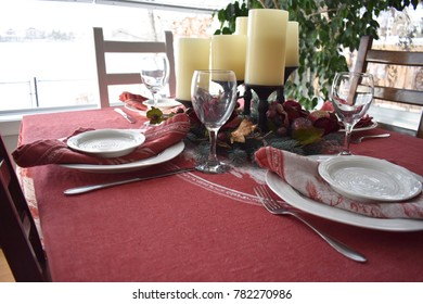 Fancy Table Setting for Holiday Family Meal