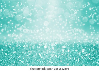 Fancy teal green glitter sparkle confetti background for turquoise happy birthday party invite, aqua mint pastel Spring Easter texture, perfume pattern, falling diamonds jewellery or Christmas sale ad