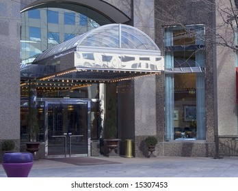 A fancy upscale hotel and restaurant bar entrance