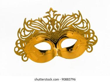 Fancy Vintage Festive Gold Glitter dress mask isolated on white background