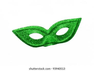 Fancy Vintage Festive Green Glitter dress mask isolated on white background