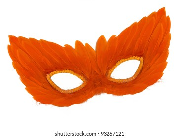 Fancy Vintage Festive Orange Feathers with Sequin dress mask isolated on white background