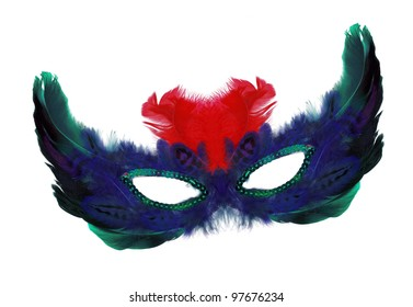 Fancy vintage festive red blue green feathers with sequin dress mask isolated on white background