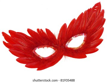 Fancy Vintage Festive Red Feathers with Sequin dress mask isolated on white background