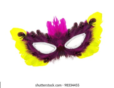 Fancy vintage purple / pink / yellow feathers with sequin dress mask isolated on white background