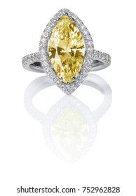 Fancy Yellow Citrine Topaz Beautiful Diamond Engagment ring. Gemstone Marquise cut surrounded by a halo of diamonds.