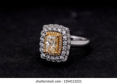Fancy Yellow Cushion Cut  Diamond Ring