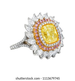 Fancy yellow and rose diamond ring
