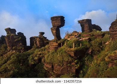 Fanjingshan, Mount Fanjing Nature Reserve - Sacred Mountain of Chinese Buddhism in Guizhou Province, China. UNESCO World Heritage List - China National Parks, Mushroom Stone Scenic Area, Strange Rocks
