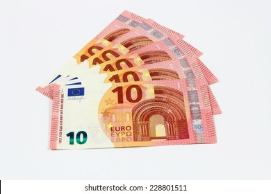 Fanned out new ten euro banknotes front from the europe series
