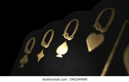 A fanned out suit of four black queen casino playing cards with gold markings on a dark classy background - 3D render