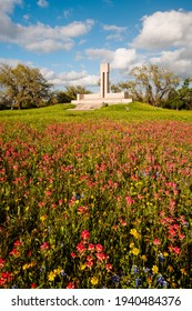 Fannin Monument and Memorial with Wildflowers in Goliad - Coastal Bend South Texas
