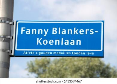 Fanny Blankers-Koenlaan Street Sign At Amstelveen The Netherlands 2019