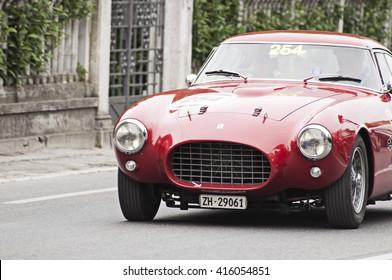 FANO, ITALY - MAY 16: Ferrari 250 MM berlinetta Pinin Farina old racing car in rally Mille Miglia 2014 the famous italian historical race (1927-1957) on May 16, 2014