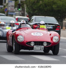 FANO, ITALY - MAY 16: Ferrari 750 Monza spider Scaglietti old racing car in rally Mille Miglia 201 4 the famous italian historical race (1927-1957) on May 2014