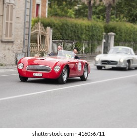 FANO, ITALY - MAY 16: Mercedes-B. 300 SL W 198 old racing car in rally Mille Miglia 2014 the famous italian historical race (1927-1957) on May 16, 2014