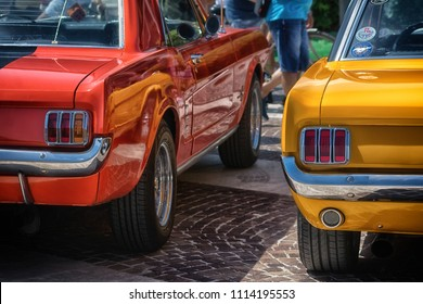 Fano  lido , ITALY - june 10 - 2018 :  vintage mustang  old   car in  historical  exposure in fano lido summer 2018
