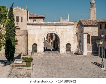 Fano, Pesaro and  Urbino province, Marche, Italy. 09/13/2019. The ancient triumphal arch of Emperor Augustus