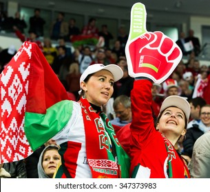 Fans of Belarus during 2014 IIHF World Ice Hockey Championship match at Minsk Arena on May  2014 in Minsk, Belarus.