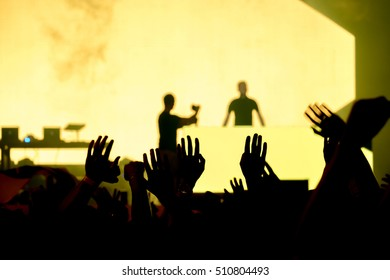 Fans cheering at open-air live concert