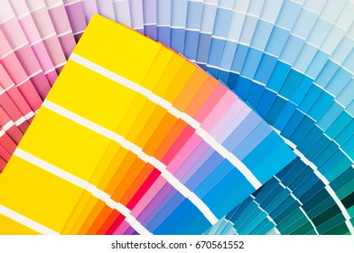 Fans with color palette, guides of acrylic paint samples