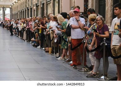 Fans of cyclism react during the teams presentation two days ahead of the 106th edition of the Tour de France cycling race in Brussels, Belgium on July 4, 2019.