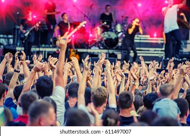 Fans During a Rock Band Concert. Disco. Concert Crowd.