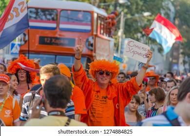 Fans of the Dutch national team for Euro 2012. The procession to the stadium. Kharkov. Ukraine. June 2012