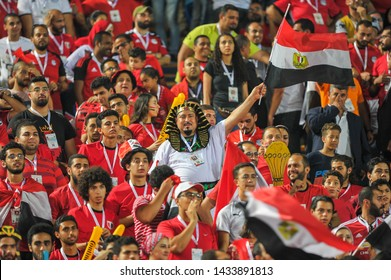 Fans of Egypt support their team ahead of the opening football match of the 2019 Africa Cup of Nations  Group A match between Egypt and Zimbabwe at the Cairo International Stadium in Cairo, Egypt