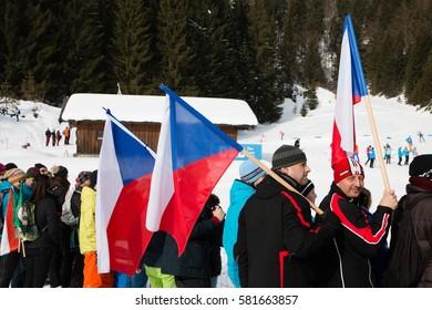 Fans with flags of Czech Republic, IBU World Championship Biathlon 2017, Hochfilzen, Austria, February 12th 2017, Editorial photo