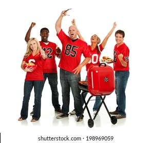 Fans: Group Of Tailgating Football Fans Cheering