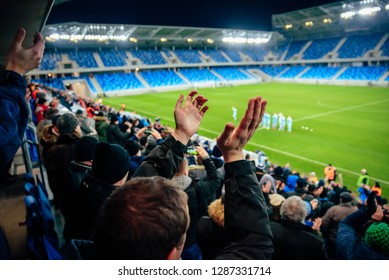 Fans on football, soccer stadium game