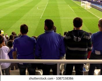 fans of a soccer team standing during a match. Football spectators