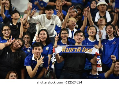Fans of Thailand cheer during the 2018 FIFA World Cup Asian Qualifiers Match Thailand and Saudi Arabia at Rajamangala Stadium on March 23,2017 in Bangkok,Thailand.