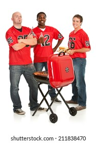 Fans: Typical Men Ready To Grill For Football Tailgate Party