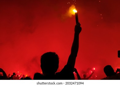 Fan's victory celebration with torches