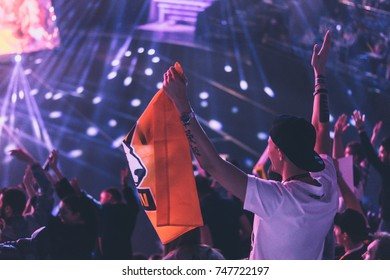 Fans of Virtus Pro cybersport team of dota 2 Moscow, Epicenter VTB Arena, 2017