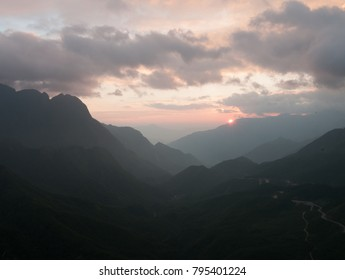 Fansipan Mountains at sunset in Sapa, Lao Cai Province, North of Vietnam.