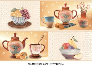 Fanta vector designs in kitchen set luxurious kitchen set orange,apples,grapes,biscuits kitchen cups set - Shutterstock ID 1949107852