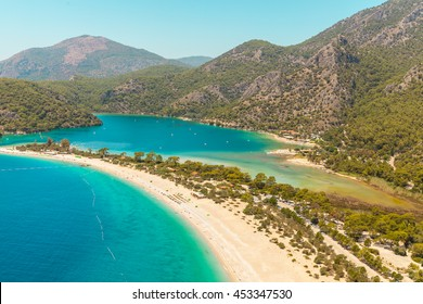 Fantastic Aerial view of the beach Belcek?z and Blue Lagoon  in Oludeniz Resort, Turkey