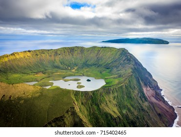 Fantastic aerial view of Corvo Island, Azores