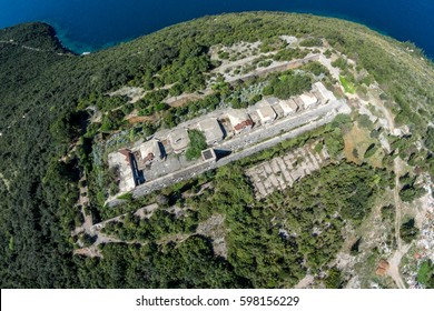 Fantastic aerial view of the fortress Kabala Lustica peninsula. Montenegro