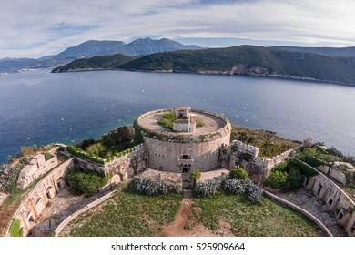 Fantastic aerial view of Mamula island fort, Boka Kotorska bay of Adriatic sea, Montenegro