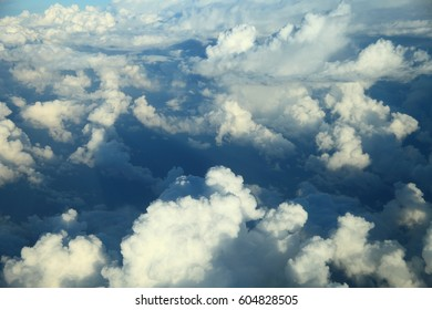 Fantastic aerial view over clouds.