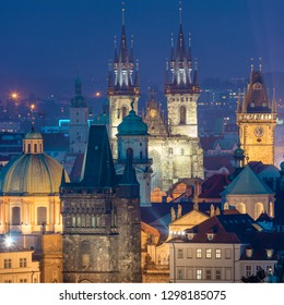 Fantastic aerial view of Prague night landmarks - roofs, castles and churches domes, Czeh, Europe