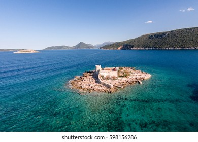 Fantastic aerial view of the Saint Virgin monastery Lustica peninsula. Montenegro. Adriatic sea
