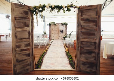 fantastic arch in book form for the wedding ceremony