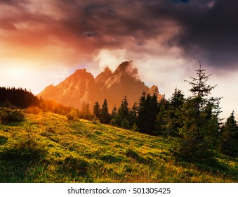 Fantastic autumn mountain landscape. Orange during the event. The dramatic scene. Carpathian, Ukraine, Europe. Art photography.