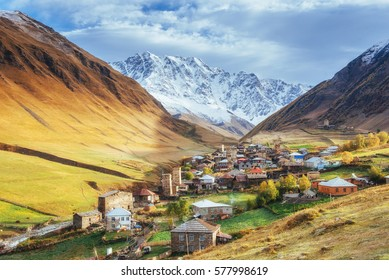 Fantastic beauty of the town between the mountains in Georgia. Europe