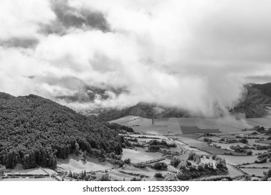 Fantastic black and white view of clouds above the Sete Cidades caldera on the island of Sao Miguel in the Atlantic.